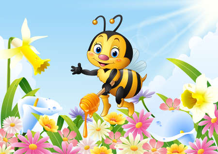 vector illustration of Cartoon bee holding honey dipper with flower background