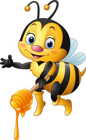 vector illustration of Cartoon bee holding honey dipper Vettoriali