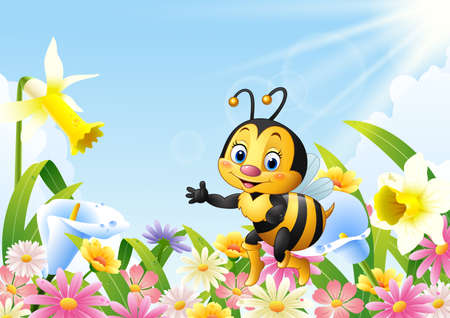 vector illustration of Cartoon bee sitting on flower and waving hand