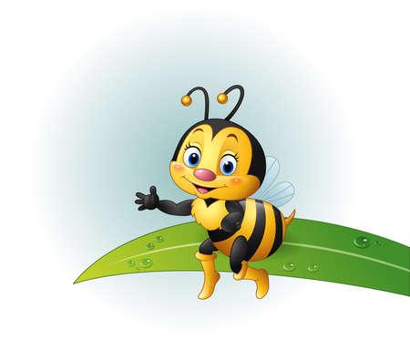 pollinate: vector illustration of Cartoon bee sitting on a leaf