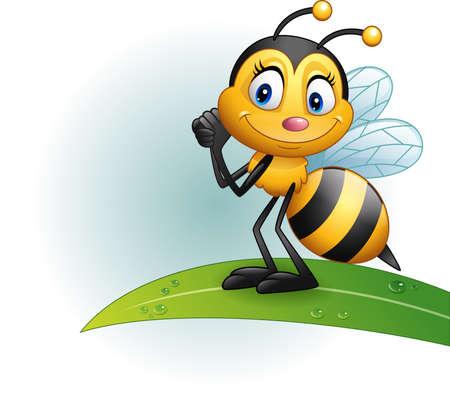 illustrazione vettoriale di Cartoon bee in piedi su una foglia Vettoriali