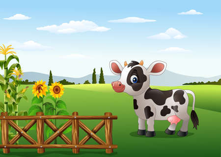 vector illustration of Cartoon cow with farm background