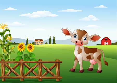 vector illustration of Cartoon cow with farm landscape