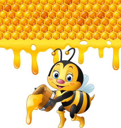 vector illustration of Cartoon bee holding bucket with honeycomb and honey dripping