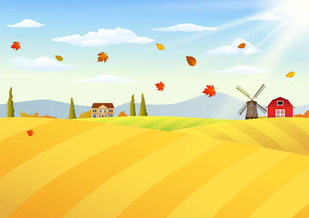 vector illustration of Farm landscape at autumn