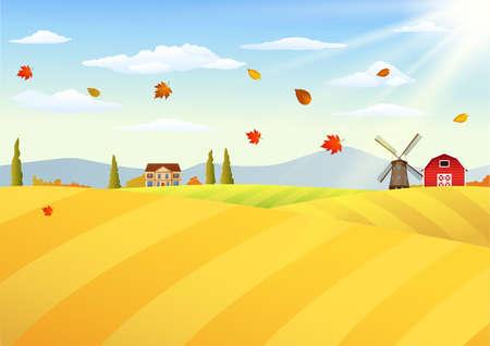 vector illustration of Farm landscape at autumn