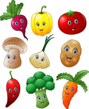 ilustración vectorial de dibujos animados conjunto de recopilación verduras Ilustración de vector