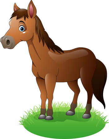 brown horse: Vector illustration of Cartoon brown horse