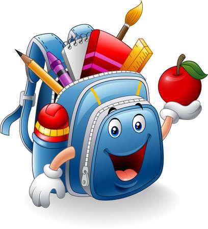 Vector illustration of Cartoon school bag holding red apple