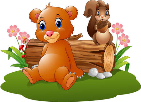 Vector illustration of Cartoon baby brown bear with squirrel in the forest Illustration