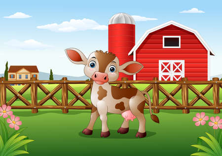 domesticated: Vector illustration of Cartoon calf with farm background