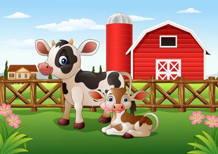 vector illustration of Cartoon cow and calf with farm background Illustration