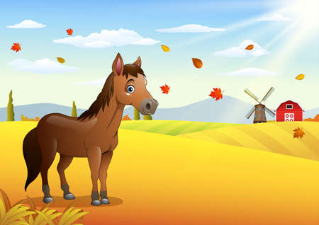 Vector illustration of Cartoon brown horse in the autumn weather