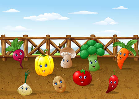 Vector illustration of Cartoon vegetable garden farm background