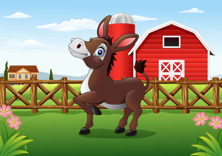 udders: Vector illustration of Cartoon happy donkey with farm background