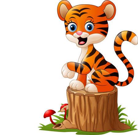 Vector illustration of Cartoon baby tiger sitting on tree stump Illustration