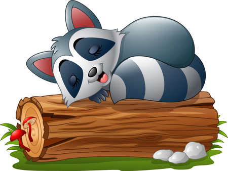 tree log: Vector illustration of Cartoon raccoon sleeping on the tree log