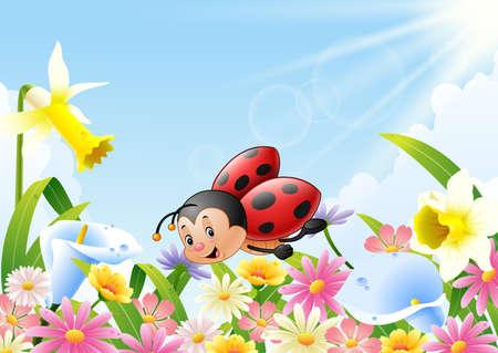 Ilustración vectorial de la mariquita de la historieta divertida volando sobre el campo de flores