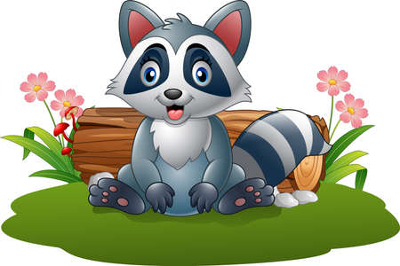 Vector illustration of Cartoon raccoon in the forest
