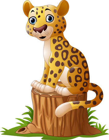 cheetah cub: Vector illustration of Cartoon leopard sitting on tree stump