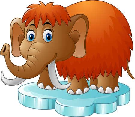 floe: Vector illustration of Cartoon mammoth standing on floe Illustration