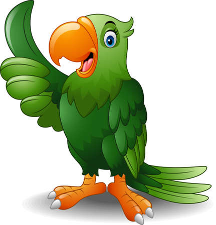 Vector illustration of Cartoon happy parrot giving thumb up 向量圖像