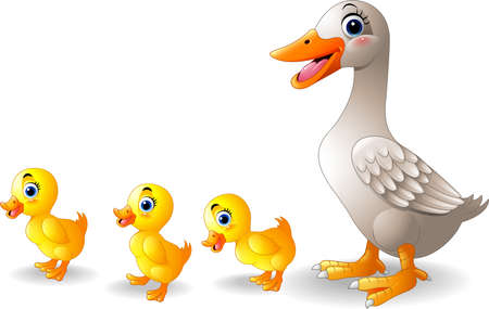 Vector illustration of Cartoon duck family cartoon