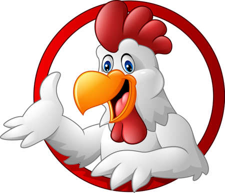 Vector illustration of Cartoon rooster mascot presenting Çizim