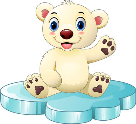 floe: Vector illustration of Cartoon baby polar bear sitting on floe
