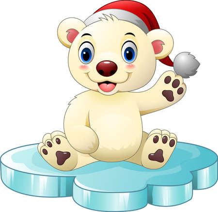 Vector illustration of Cartoon baby polar bear waving hand