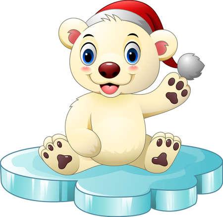 floe: Vector illustration of Cartoon baby polar bear waving hand