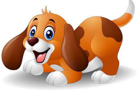 vector illustration of Cartoon playful puppy