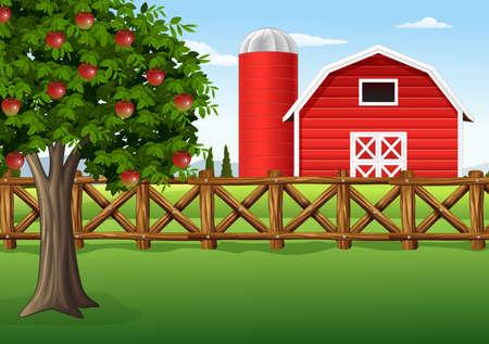 농장에서 사과 나무의 벡터 일러스트 레이션