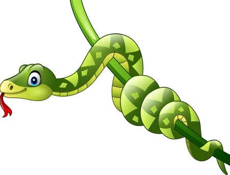 Vector illustration of Cartoon green snake on branch Illustration