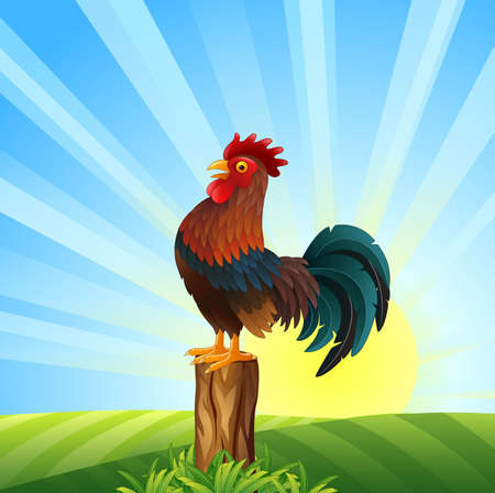 Vector illustration of Cartoon Rooster crowing at dawn