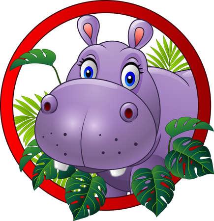 Vector illustration of Cartoon hippo mascot Illustration