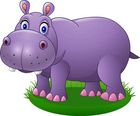 vector illustration of Cute cartoon hippo on the grass