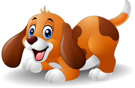 short haired: vector illustration of Cartoon playful puppy