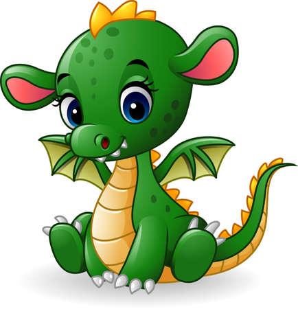 vector illustration of Cartoon baby dragon sitting