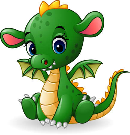 vector illustration of Cartoon baby dragon sitting