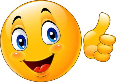 Vector illustration of Cartoon emoticon giving thumb up