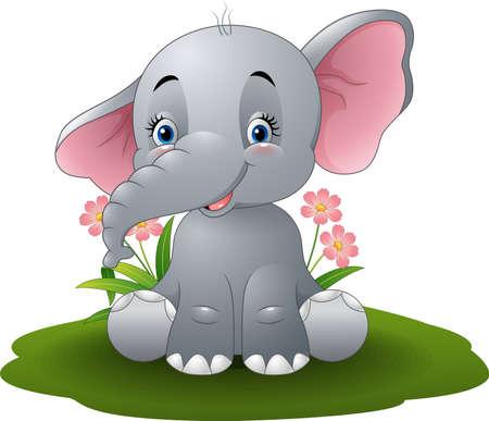 Vector illustration of Cartoon baby elephant