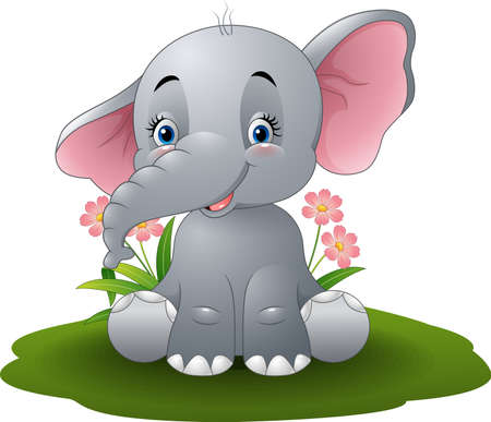 Vector illustration of Cartoon baby elephant