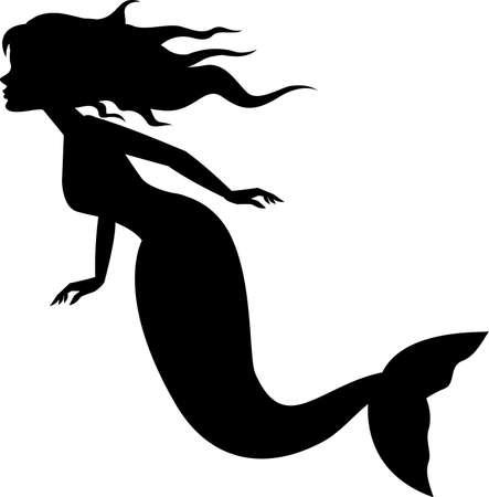 vector illustration of Mermaid silhouette swimming