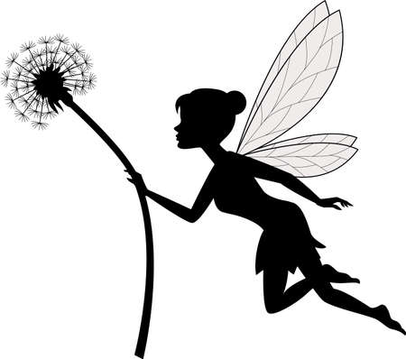 vector illustration of Fairy holding flower Vectores