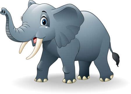 illustration de bande dessinée heureux d'éléphant
