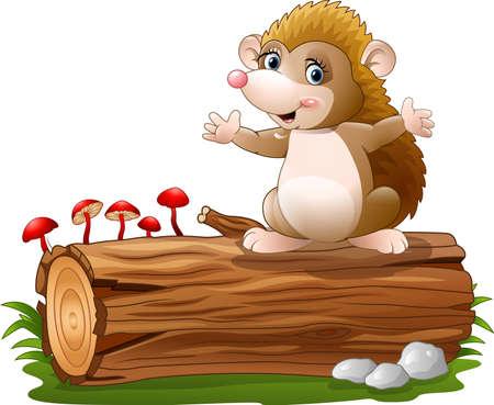 tree log: illustration of Cute hedgehog cartoon on the tree log
