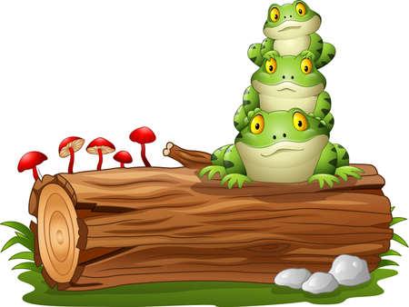 tree log: illustration of Cartoon frog stacked on tree log