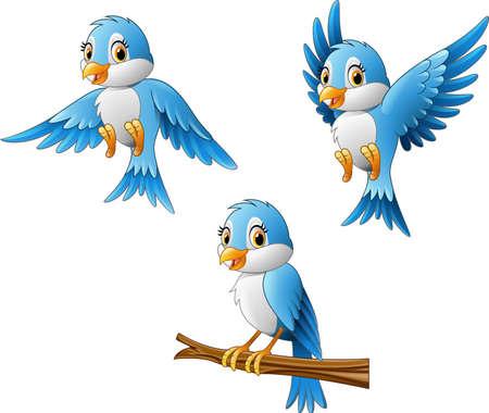 illustration de bande dessinée d'oiseau bleu