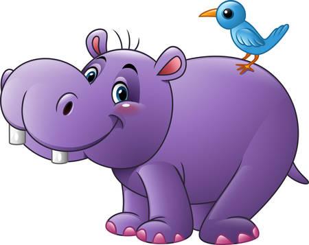illustration of Cartoon funny hippo with bird Illustration